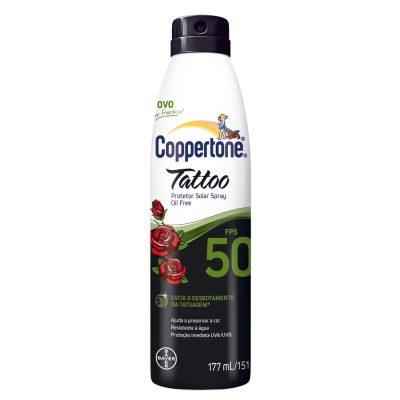 Protetor Solar Coppertone Tattoo FPS 50 Spray 177 ml