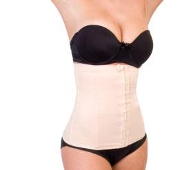 Faixa abdominal feminina com barbatanas articuladas e colchetes